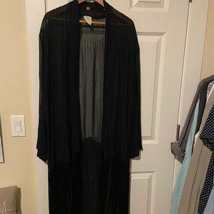 Free People long black fringe robe M/L